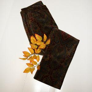 Laren Ralph Lauren 8P Brown Paisley Corduroy Pants